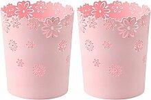 Papierkorb Büro, Foxom 2 Stück Kunststoff Blumen Höhle Abfalleimer Mülleimer Mülltonne Papierkorb für Büro/Badezimmer/küche/Schlafzimmer (Rosa)