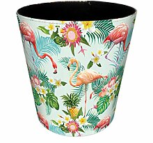 Papierkorb Büro, Foxom Flamingo Motif PU Leder Abfalleimer Mülleimer Mülltonne Papierkorb Vintage für Büro/Badezimmer/küche/Schlafzimmer