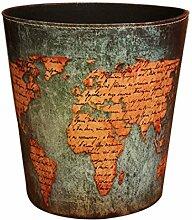 Papierkorb Büro, Foxom PU Leder Abfalleimer Mülleimer Mülltonne Papierkorb Vintage für Büro/Badezimmer/küche/Schlafzimmer (Weltkarte Motiv)