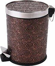 Papierkorb, FOKOM Vintage Retro Klassisch Papierkorb Büro Mülleimer Abfalleimer PU Leder Trash Bin Papierkorb mit Deckel