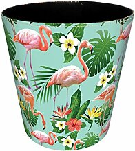 Papierkorb, Foxom Flamingo Motif PU Leder Mülleimer Abfalleimer Müllsammler Papierkorb für Büro/Badezimmer/küche/Schlafzimmer