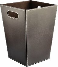Papierkorb mit Henkel, FOKOM Vintage Retro Klassisch PU Leder Papierkorb Büro Mülleimer Abfalleimer Papierkorb Trash Bin Papierkorb mit Henkel