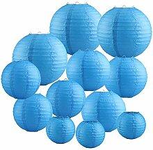 Papierlaterne 12 Stück Blau Papier Lampions