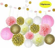 Papierlaternen Seidenpapier Pom Poms Blumen Party Dekoration 16er/Se