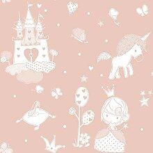Papiertapete in Rosa mit Aschen-Motiv Babylandia