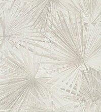 Papiertapete mit Palmenmotiv Taupe auf Elfenbein
