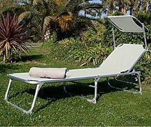 Papillon Sonnenliege Meer/Garten weiß aus Stahl