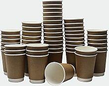 Pappbecher [100 Stück Kaffeebecher] 340 ml