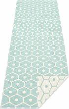 Pappelina - Honey Wendeteppich, 70 x 225 cm, pale turquois / vanilla