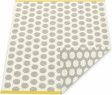 Pappelina - Noa Wendeteppich, 70 x 50 cm, warm grey / vanilla / mustard edge