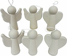 Pappmache Engel, 6er Set, 2 verschiedene Motive im Set, ca. 10 x 13 cm, Engel zum Basteln, Engel Pappe, Engel zum Aufhängen, Engel zum Bemalen, Basteln Weihnachten, Deko Engel, Dekoration