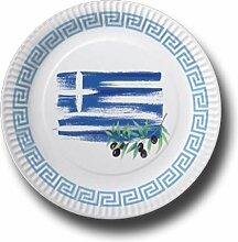 Pappteller mit Länderflaggen Motiv (Griechenland,