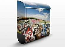 Paradies für Skater 39x46x13cm Briefkasten, Standbriefkasten, Briefkästen, Moderne Kunst, Graffiti, Halfpipe, Skateboard, Bunt