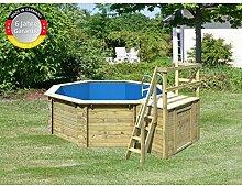 Paradies Pool GmbH Holzpool 4,00 x 1,20 m inklusive Sonnendeck/Folie 0,6mm adriablau/Tiefbeckenleiter Edelstahl/Massivholzbohlen/Breitmaulskimmer
