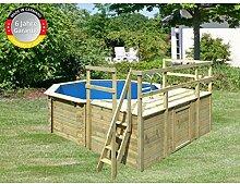 Paradies Pool GmbH Holzpool 4,00 x 1,20 m/Inklusive Sonnendeck mit 2 Zusätzlichen Flügeln/Folie 0,6mm adriablau/Engholm Tiefbeckenleiter Edelstahl/Massivholzbohlen/Breitmaulskimmer/Premium