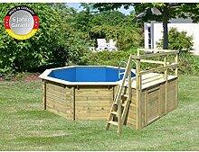 Paradies Pool GmbH Holzpool 4,00 x 1,20 m inklusive Sonnendeck und zusätzlichen Flügel/Folie 0,6mm adriablau/Tiefbeckenleiter Edelstahl/Massivholzbohlen/Breitmaulskimmer