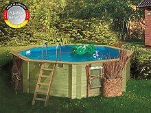 Paradies Pool GmbH Holzpool Komplettset 4,00 x 1,20 m mit Tiefbeckenleiter Edelstahl