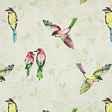Paradiso Tropische Vögel Floral 100% Baumwolle Vorhang Polster Stoff - Meterware - pomegranate