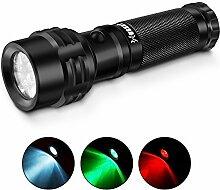 Paragala Außen Helle Taschenlampe IPX7 Wasserdicht Rot / Grün / Weißlicht LED Taschenlampe Fackel für die Jagd Fischen Wandern Lesen Detector (Mehrfarbig)