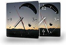 Paragliding - Moderne Wanduhr mit Fotodruck auf Polycarbonat   Fotouhr Bilderuhr Motivuhr Küchenuhr modern hochwertig Quarz, Variante:30 cm x 30 cm mit weißen Zeigern - GERÄUSCHLOS
