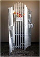 Paravent Design Gartenzaun mit Blumenkasten