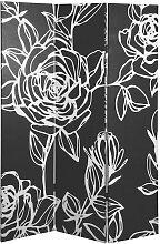 PARAVENT Holz, Textil Tanne massiv Schwarz, Weiß