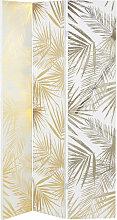 Paravent mit Druckmotiv Blätter, weiß und
