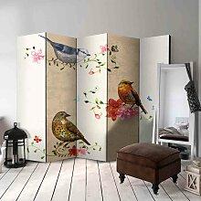Paravent mit Vögeln sitzend auf Ästen 225 cm