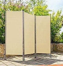 Paravent outdoor Metall / Stoff creme beige Spanische Wand Trennwand Sichtschutz Windschutz Sonnenschutz Raumteiler