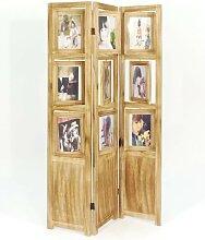 Paravent, Raumteiler FOTORAHMEN Holz beige natur
