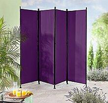 Paravent Raumteiler Trennwand violett 4-teilig -