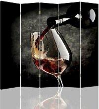 Paravent Rotwein mit 5 Paneelen