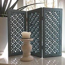 Paravent SHABBY CROIX blau Fensterparavent