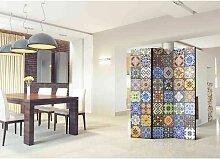 Paravent Sichtschutz mit buntem Mosaik Muster 135