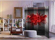 Paravent Sichtschutz mit rotem Farbspritzer Motiv