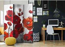 Paravent Sichtschutz mit roten Mohnblumen 135 cm