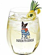 Pardon My Frenchie Weinglas Weingläser ohne Stiel
