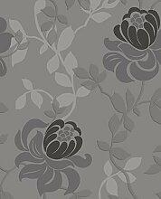 Parent Grau und Schwarz Blumen-Design große