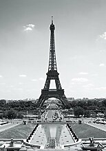 Paris Eiffelturm - schwarz-weiss - Foto-Tapete 2-teilig - Fototapete Wallpaper 232x158cm. Beigelegt sind eine Packung Kleber und eine Klebeanleitung.