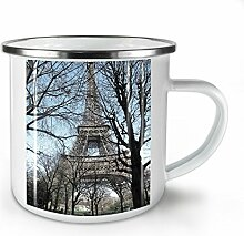 Paris Foto Tag Mode Weiß Emaille-Becher 10 oz |