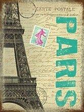 Paris Postkarte mit Eiffelturm, Frankreich. Für Haus, Zuhause, Bar oder Kneipe oder Shop. Metall/Stahl Wandschild, stahl, 9 x 6.5 cm (Magnet)