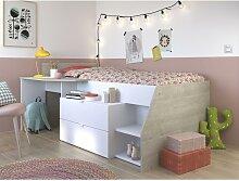 PARISOT Kinderbett mit Schreibtisch & Stauraum