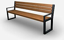 Parkbank Gartenbank Stahl Massiv Holz Palisander