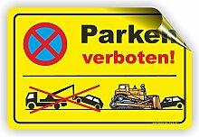 PARKEN VERBOTEN (GELB) - Parken verboten Schild / PV-022 (45x30cm Aufkleber)