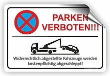 PARKEN VERBOTEN (rot) - Parken verboten Schild / PV-025 (60x40cm Aufkleber)