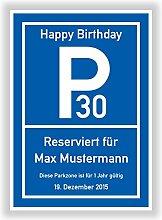 Parkplatzschild - Parkzone - Deko Geschenkidee zum 18, 20, 30, 40, 50, 60 Geburtstag - Kunstdruck Schild - Bild - persönliches Geschenk mit Name und Datum - Geburtstagsschild