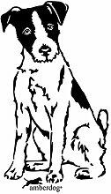 Parson Russel Terrier Art.Nr.AT0167 Aufkleber amberdog Wohnmobil Wohnwagen (50x30cm, weiß)