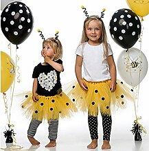 Party Bienchen Kostüm Set; 2 Teile Ergänzung Kindergeburtstag schwarz gelb bunt Mädchen Maya Dekoration Happy Birthday Bienchen. (4. Kostüm Set)
