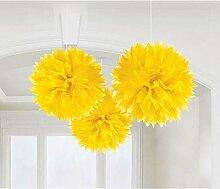 PARTY DISCOUNT Deko-Ball flauschig, gelb, 40 cm, 3