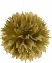 PARTY DISCOUNT Deko-Ball flauschig, Gold, 40 cm, 3